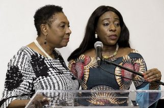 Jamaica's Minister of Culture, Gender, Entertainment and Sport, Olivia Grange (left) with Ghana's Minister of Tourism, Arts and Culture, Catherine Afeku (right) at the Caribbean launch of the Year of Return in Kingston, Jamaica. -- Photo Credit: Jamaica Information Service