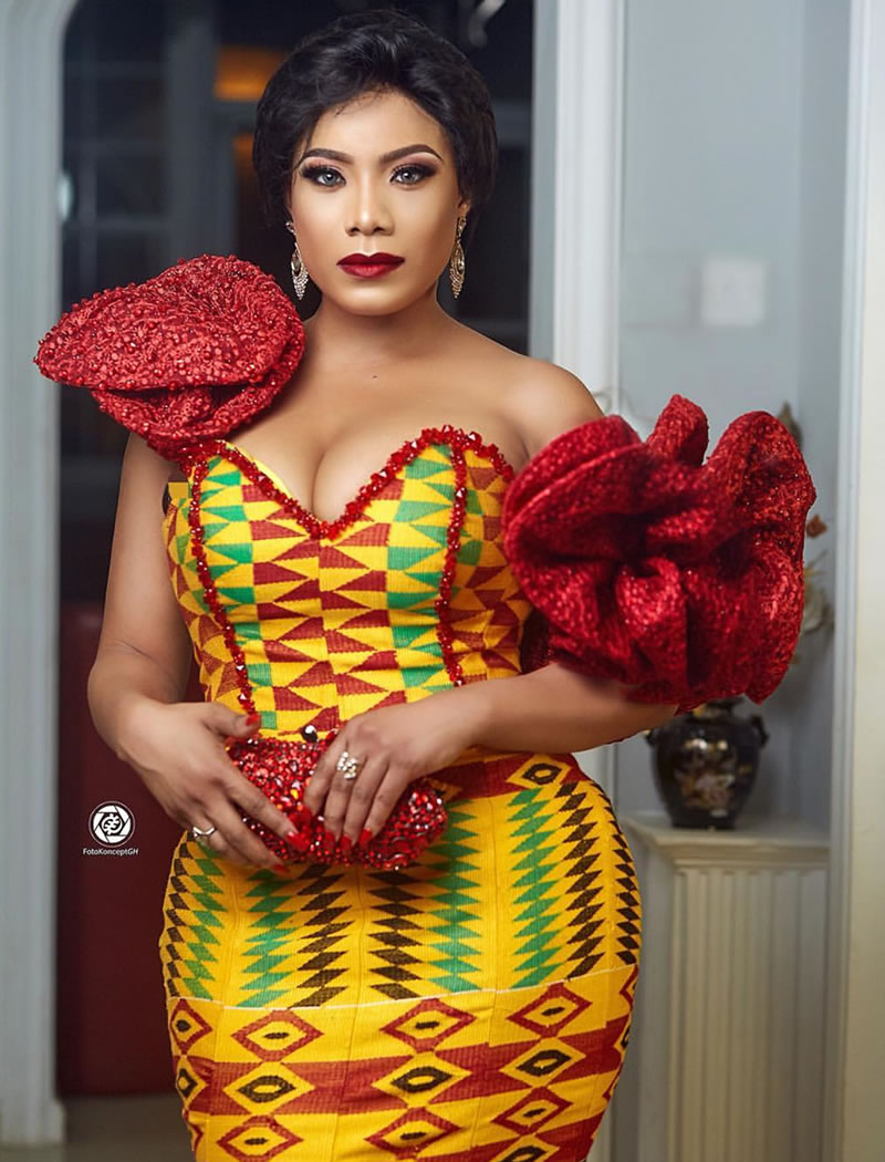Zynelle Zuh In a Fabulous Kente Fishtail Dress At The