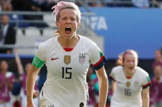 Megan Rapinoe scored twice as her side knocked out Spain in the last 16 at the Women's World Cup