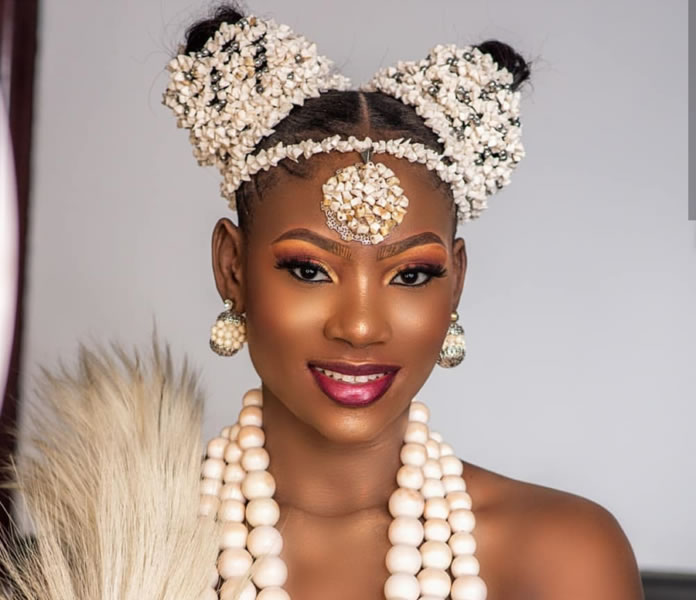 Beautiful African Bridal With Nice-Looking White Necklace For African Woman