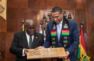 President Akufo-Addo interacting with Prime Minister Andrew Holness