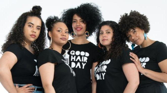 The women behind the Good Hair Day: Paloma Sandberg (l), Vanessa Daniels, Michaela Moua, Saida Mäki-Penttilä and Akunna Onwen