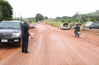 Former President Jerry Rawlings inspecting sections of the Sokode-Ho road on Thursday.