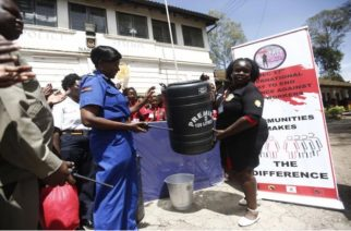 Sex workers donate items to police (Photos/Kipsang