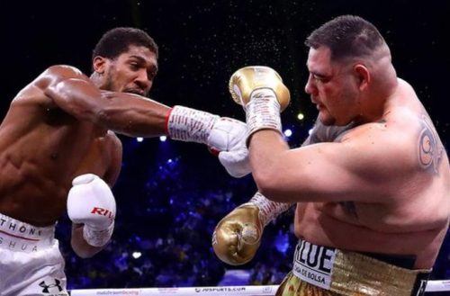 Joshua cut his opponent in round one and dominated the fight throughout