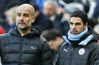 Pep Guardiola (left) says he would not stand in Mikel Arteta's way if he wanted to become Arsenal manager