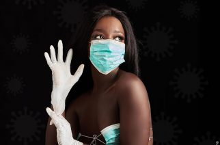 African Model Poses In Bikini Made From Face Mask For A 'Fight COVID-19' Awareness Campaign