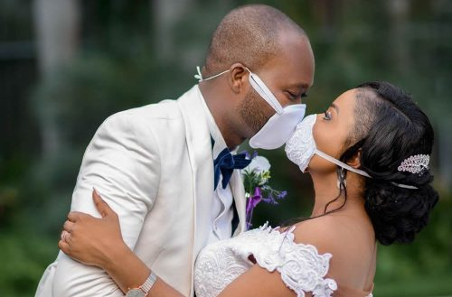 Photo Shows How Two Newlyweds Shared Their First Kiss Through Face Masks