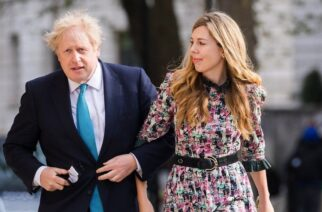 The prime minister and Carrie Symonds were photographed as they went to vote in this month's local elections