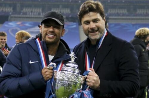 Pochettino (right, with Neymar) lifted the French Cup with Paris-St Germain in May