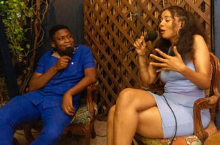 T'neeya having a chat with moderator of the Living Room Sessions Antoine Mensah