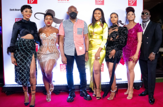 Group Chairman, UBA Plc, Mr. Tony Elumelu flanked by Sharon Onoja; Cynthia Nwadiora(Cee-c), Osas Ighodaro; Dillish Matthews; Enado Odigie; and Producer of Assistant Madams, Tola Odunsi at the private screening of RED TV's Assistant Madams, Dark Hearts in Lagos at the weekend.