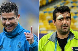 Cristiano Ronaldo Splits Cameraman's Head Open In Champions League Final Warm-Up