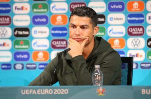 Cristiano Ronaldo ditches Coca-Cola for water at Euro 2020 press conference